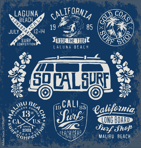 Set of Vintage Surfing Graphics and Emblems - 75915697