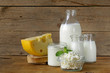 assortment of dairy products (milk, cheese, sour cream, yogurt) - 75916475