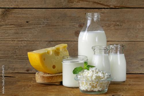 Fotobehang Zuivelproducten assortment of dairy products (milk, cheese, sour cream, yogurt)