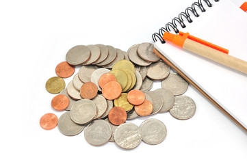 Thai coins baht and Notepad