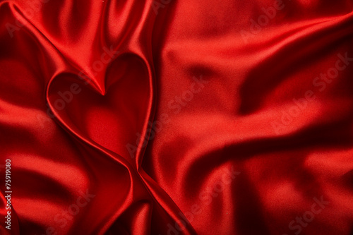 Heart shape silk fabric folds. Valentine day red background. - 75919080