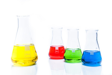Set of conical temperature resistant flask with color liquid