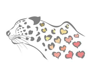 ハート柄の豹