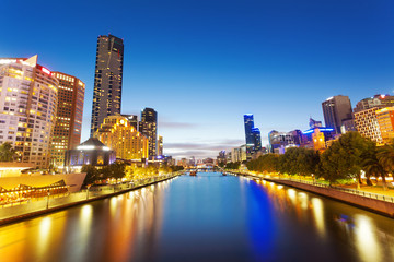View of Yarra river in Melbourne at night