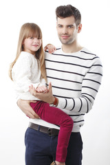 Young father and his cute daughter
