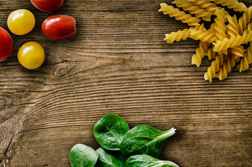 Retro Pasta And Salad On Rustic Table