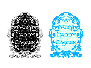 Rich decorated floral Easter egg in black and blue