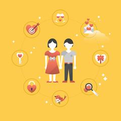 Valentine's day flat stylish icons design