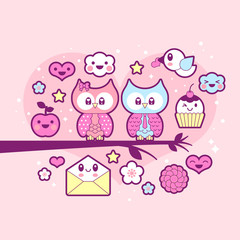 Valentine's day kawaii icon set with cute owls