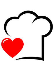 icon with chef hat and heart