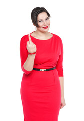 Beautiful plus size woman showing middle finger isolated