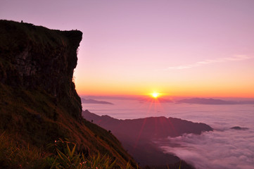 Sunrise scene and sea of fog in early morning