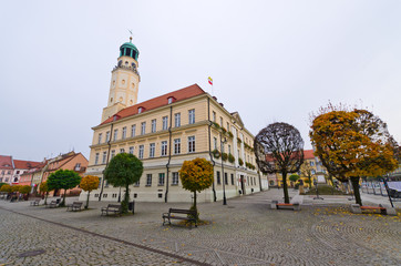 Town square of Olesnica, Poland