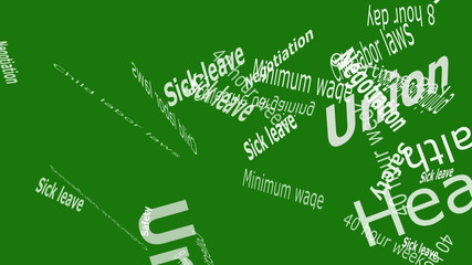 Union Falling Words on Solid Color Background
