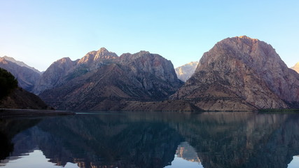 Mountain lake at sunrise. Zoom. TimeLapse. Tajikistan, IskanderK