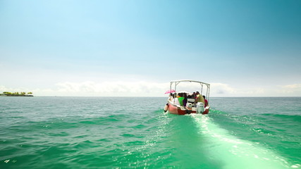 taxi boat ride with passengers in mauritius