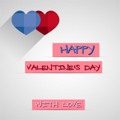 Bright 2015 Valentine s day card. With long shadow. Hipster