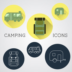 Set of outdoor adventure icons, badges and campsite logo emblems