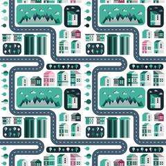 Vector city infographic elements. Seamless pattern. Ski resort