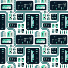 Vector city infographic elements. Seamless pattern