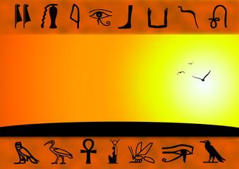 Ägypten - Hieroglyphen - Sunset