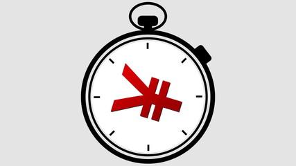 Stopwatch Japanese Yen Symbol Rotating