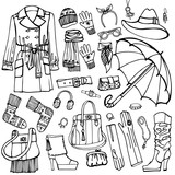 Outline Sketchy.Females outerwear,accessories set