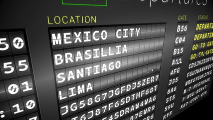 Departures board for south american cities