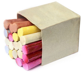 Colorful  chalk in box