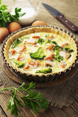 Quiche with broccoli and fish