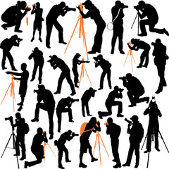photographers big silhouettes collection - vector