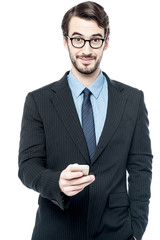 Handsome entrepreneur using mobile phone