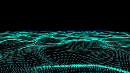 Abstract green technology landscape of binary code on black