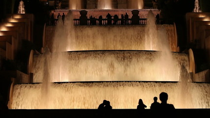 Water Cascades and Fountains illuminated at Night in Barcelona
