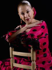 Male, flamenco dress, sitting on a chair