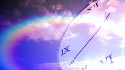 Time passing concept with clock on blue sky