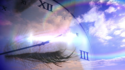Time passing concept with eye and blue sky