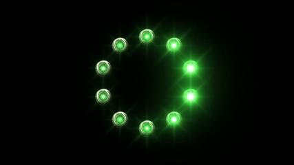 light loading wheel - 30fps spinning loop - green lights