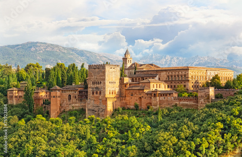 ancient arabic fortress of Alhambra, Granada, Spain - 75923884