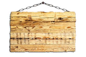 altes Holzschild an Ketten