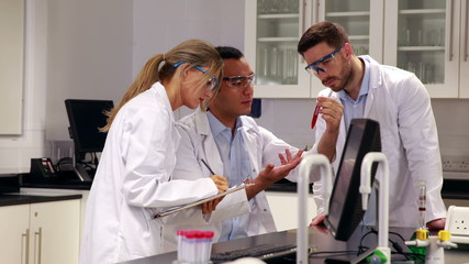 Young scientists working together in the lab