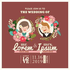 wedding invitation card with cute groom and bride cartoon