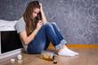 Depressed teenager drinking