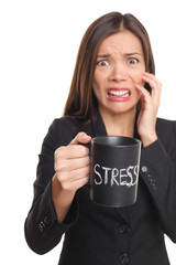 Stress concept - business woman stressed