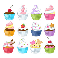 Set of colorful sweet cupcakes.
