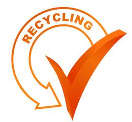 recycling symbol validated orange