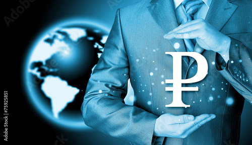canvas print picture businessman protecting ruble  symbol