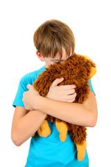 Sad Kid with Plush Toy