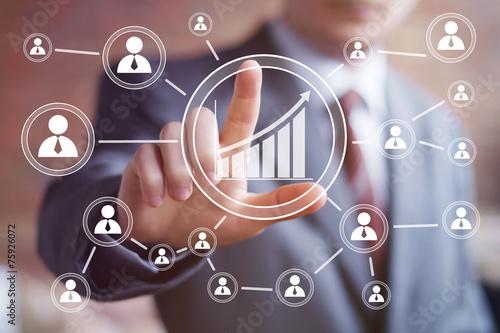 Leinwandbild Motiv Man with chart business web diagram.