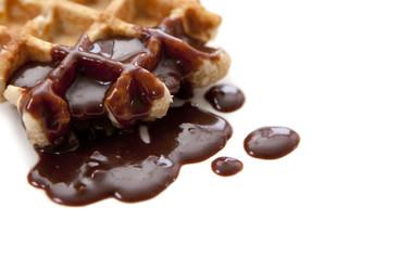 gaufre de liège au chocolat fondu